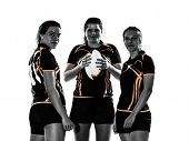 stock photo of backround  - rugby women players team in silhouette isolated on white backround - JPG