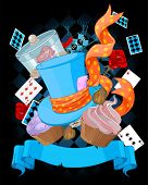 picture of alice wonderland  - Wonderland top hat and cupcakes background - JPG