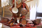 pic of flea  - many copper objects for kitchen and home for sale in the antiques stall at flea market - JPG