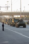 stock photo of parade  - MOSCOW - MAY 4 2015: Military vehicles on Leningradsky Prospekt in rehearsal for the Victory Day parade
