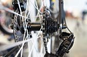 stock photo of mountain chain  - Carriage with chain rear wheel sports mountain bike closeup