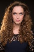 picture of black curly hair  - Beautiful woman with long brown curly hair - JPG