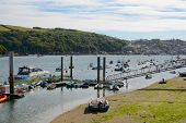 foto of pontoon boat  - Moored boats on the River Fowey at Fowey Cornwall England  - JPG
