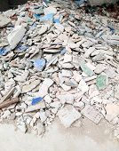 picture of piles  - Pile of broken tiles from the renovate house - JPG