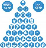pic of manufacturing  - Blue and white construction manufacturing and engineering health and safety related pyramid icon collection isolated on white background with work safe message - JPG