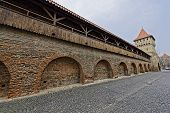 pic of sibiu  - Wooden ramparts of the fortress wall Sibiu Romania medieval architecture - JPG