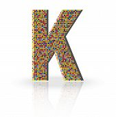 stock photo of letter k  - Colorful 3D Alphabet Letter K with reflection on white glossy surface - JPG