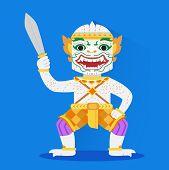 pic of hanuman  - Hanuman vector are stood and holding a sword - JPG