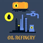 pic of refinery  - Oil refinery flat industrial icons with an industrial plant - JPG