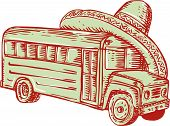pic of sombrero  - Etching engraving handmade style illustration of a school bus with sombrero on top of it set on isolated white background - JPG