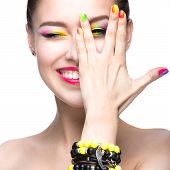 image of nail  - Beautiful model girl with bright colored makeup and nail polish in the summer image - JPG