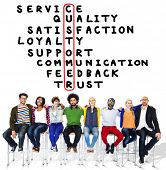 image of scrabble  - Customer Service Quality Satisfaction Crossword Puzzle Concept - JPG