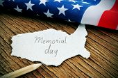 pic of united states map  - a piece of paper in the shape of United States with the word Memorial Day written in it - JPG