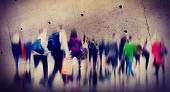 stock photo of hustle  - Casual People Rush Hour Walking Commuting City Concept - JPG