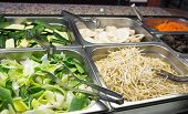 picture of buffet  - bamboo and soy sprouts buffet in Asian restaurant - JPG