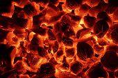 picture of briquette  - Glowing Hot Charcoal Briquettes Close - JPG