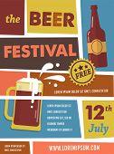image of beer mug  - Vintage poster of beer festival - JPG