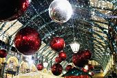 picture of london night  - Christmas decorations lights at night in Covent Garden - JPG