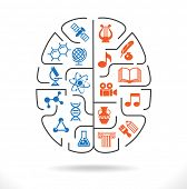 stock photo of human rights  - Abstract human brain with the icons of art and science - JPG
