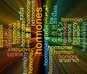 stock photo of hormones  - Background concept wordcloud multilanguage international many language illustration of hormones glowing light - JPG