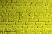 pic of brick block  - Background of Brick Wall Painted with Mortar Yellow Lemon Color closeup - JPG