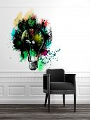 pic of wainscoting  - Modern Grey Chair in Upscale Luxury Home with Abstract Artwork of Light Bulb on White Wall with Panelling and Wood Floor - JPG