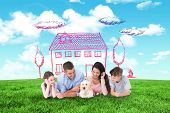 picture of puppies mother dog  - Family looking at puppy while lying against blue sky over green field - JPG