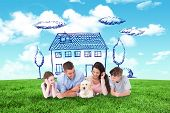 image of puppies mother dog  - Family looking at puppy while lying against blue sky over green field - JPG