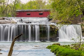 image of cataracts  - The historic Cataract Covered Bridge crosses Indiana - JPG