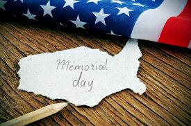 picture of memorial  - a piece of paper in the shape of United States with the word Memorial Day written in it - JPG