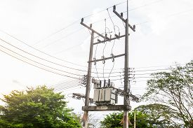 stock photo of transformer  - Electric transformer substation in south of Thailand - JPG
