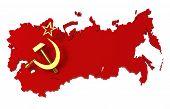 Sowjetunion, UdSSR, Karte mit Fahne, Beschneidungspfad